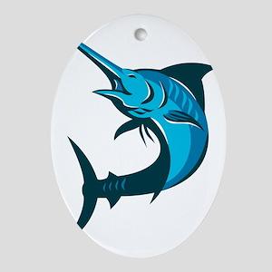 blue marlin fish jumping retro Oval Ornament