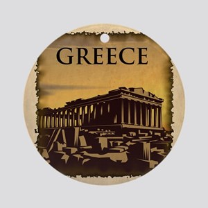 Acropolis Of Athens Round Ornament