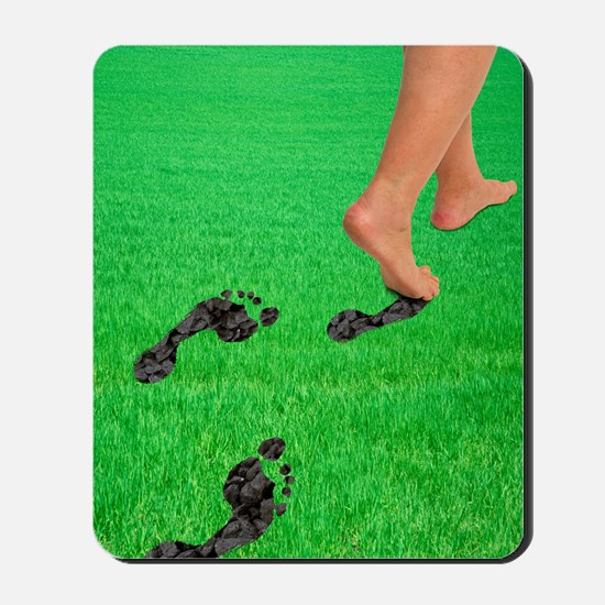 A woman's feet leaving carbon footprints Mousepad