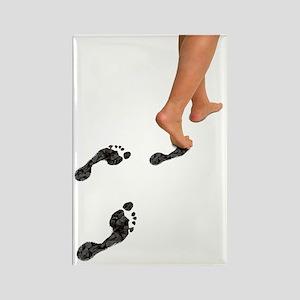 A woman's feet leaving carbon foo Rectangle Magnet