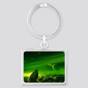 Alien ringed planet, artwork Landscape Keychain