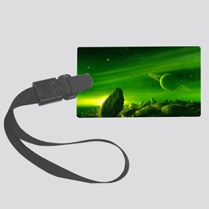 Alien ringed planet, artwork Large Luggage Tag