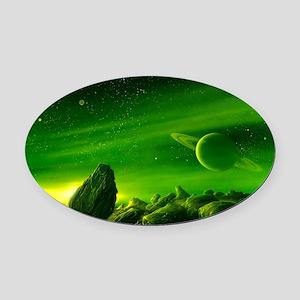 Alien ringed planet, artwork Oval Car Magnet