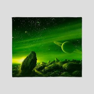 Alien ringed planet, artwork Throw Blanket