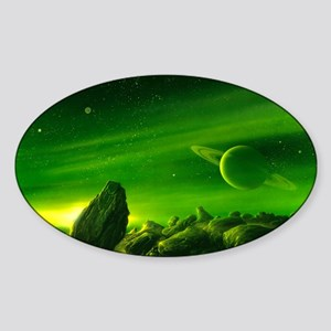 Alien ringed planet, artwork Sticker (Oval)