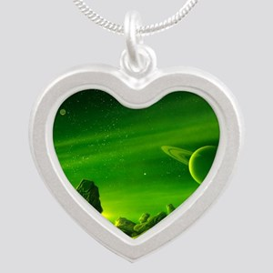 Alien ringed planet, artwork Silver Heart Necklace