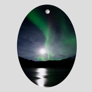 Aurora borealis and Moon Oval Ornament