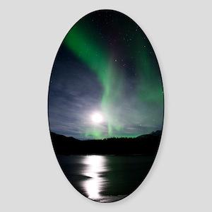 Aurora borealis and Moon Sticker (Oval)