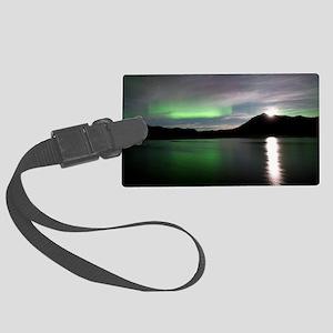 Aurora borealis and Moon Large Luggage Tag