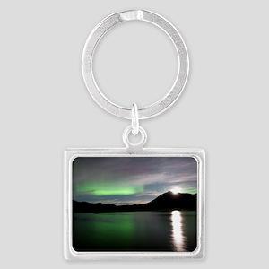 Aurora borealis and Moon Landscape Keychain