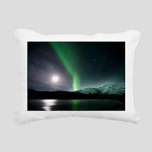 Aurora borealis and Moon Rectangular Canvas Pillow