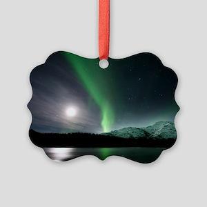 Aurora borealis and Moon Picture Ornament