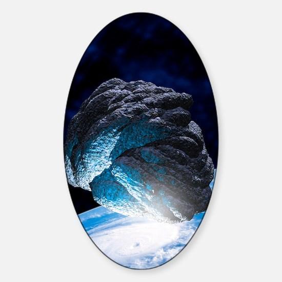 Asteroid approaching Earth, artwork Sticker (Oval)