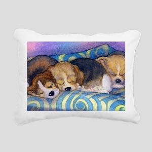 Beagle puppies asleep on Rectangular Canvas Pillow
