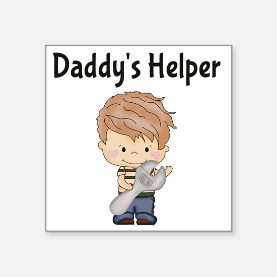 """Daddys Helper with Wrench Square Sticker 3"""" x 3"""""""
