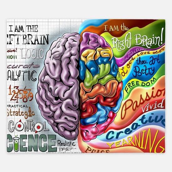 Left Brain Right Brain Cartoon Poster King Duvet