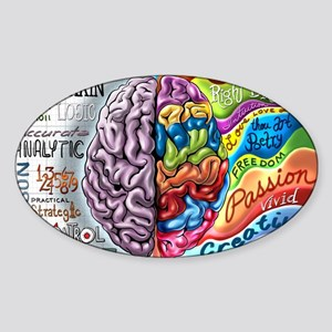 Left Brain Right Brain Cartoon Post Sticker (Oval)