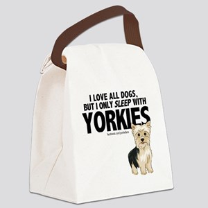 I Sleep with Yorkies Canvas Lunch Bag
