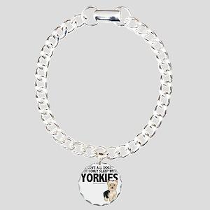 I Sleep with Yorkies Charm Bracelet, One Charm