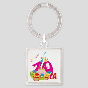 BirAnnNumbersA19 Square Keychain