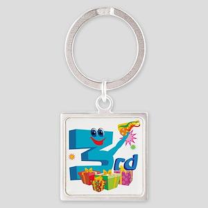 BirAnnNumbersA55 Square Keychain