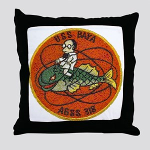 uss baya patch transparent Throw Pillow