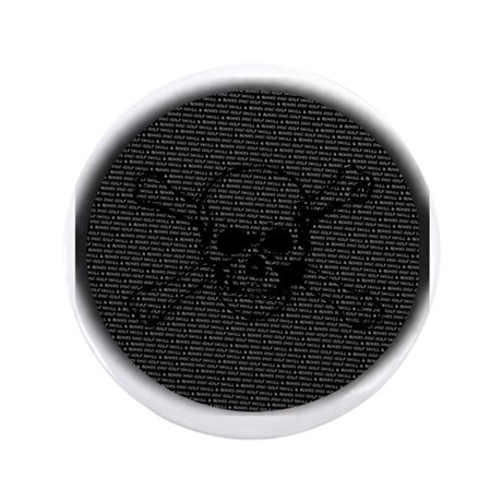 "Skull and Bones Disc golf Overlay 3.5"" Button"