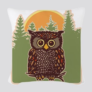 Hoot Owl Forest Woven Throw Pillow