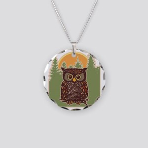 Hoot Owl Forest Necklace Circle Charm