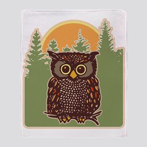 Hoot Owl Forest Throw Blanket