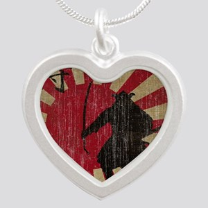 Vintage Samurai Silver Heart Necklace