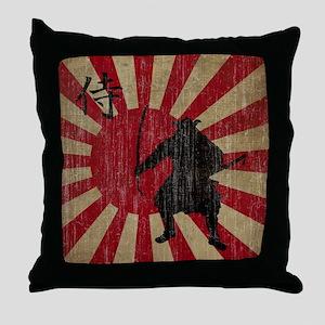Vintage Samurai Throw Pillow