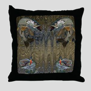 Musky Fishing Throw Pillow