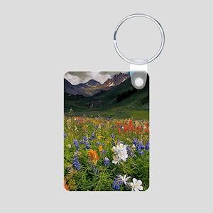 Alpine flowers in Rustler' Aluminum Photo Keychain