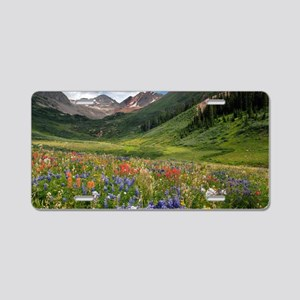 Alpine flowers in Rustler's Aluminum License Plate