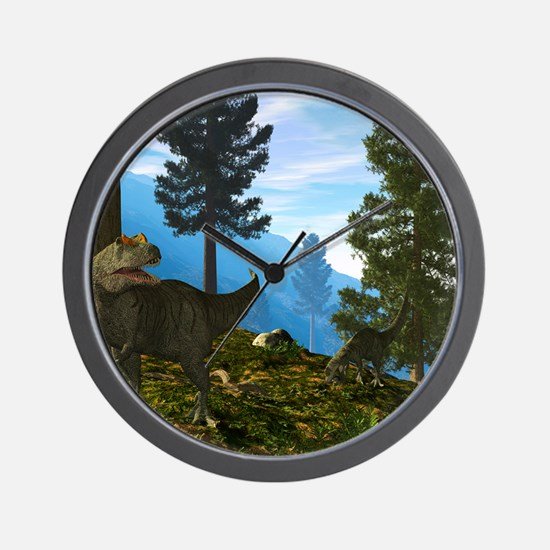 Allosaurus dinosaurs, artwork Wall Clock