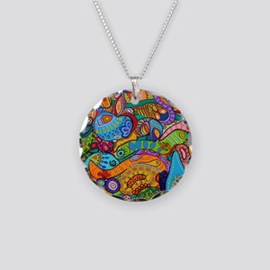 Abstract Whimsy Necklace Circle Charm