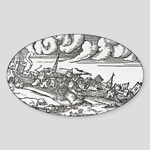 1509 Istanbul earthquake, artwork Sticker (Oval)