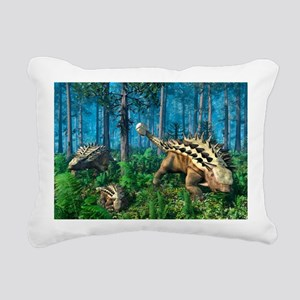 Ankylosaur family, artwo Rectangular Canvas Pillow