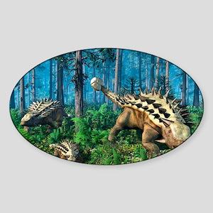 Ankylosaur family, artwork Sticker (Oval)