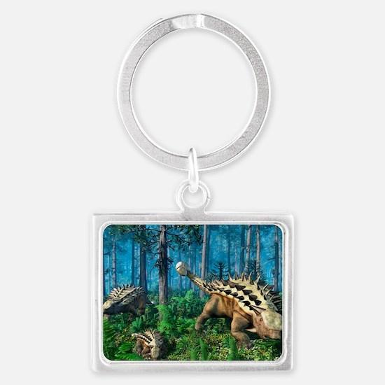 Ankylosaur family, artwork Landscape Keychain