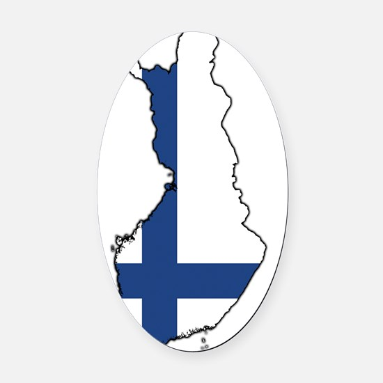 Flag Map of Finland Oval Car Magnet