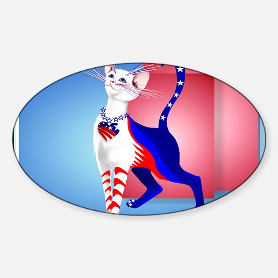 Calender An All American Cat Sticker (Oval)