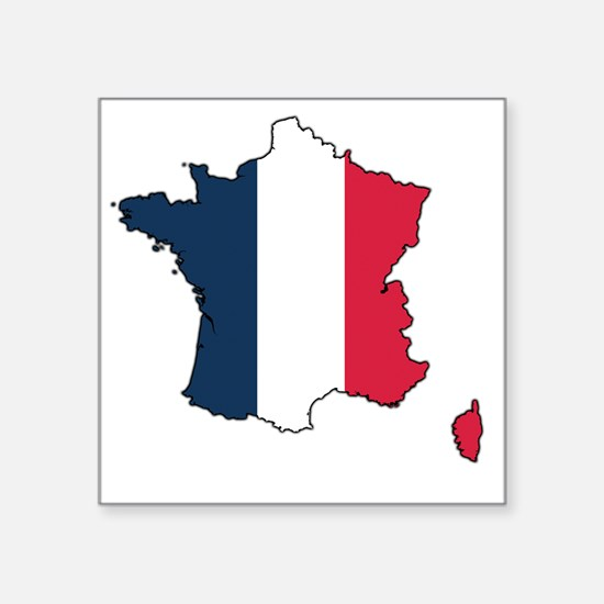 "Flag Map of France Square Sticker 3"" x 3"""