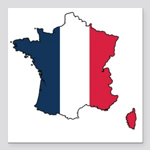 "Flag Map of France Square Car Magnet 3"" x 3"""