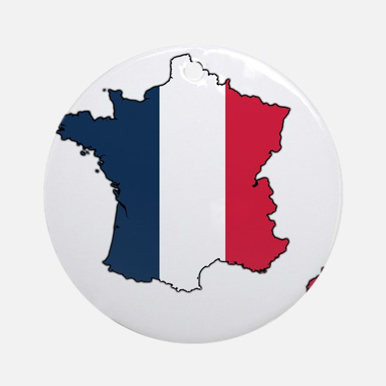 Flag Map of France Round Ornament