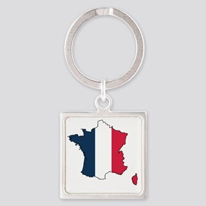 Flag Map of France Square Keychain