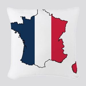 Flag Map of France Woven Throw Pillow