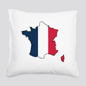 Flag Map of France Square Canvas Pillow