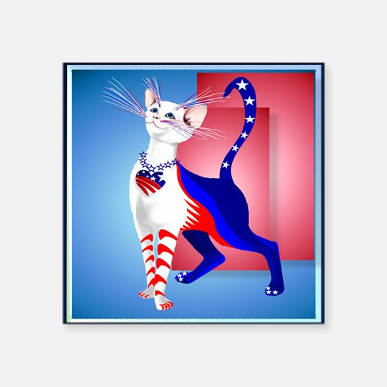"""Pillow An All American Cat Square Sticker 3"""" x 3"""""""